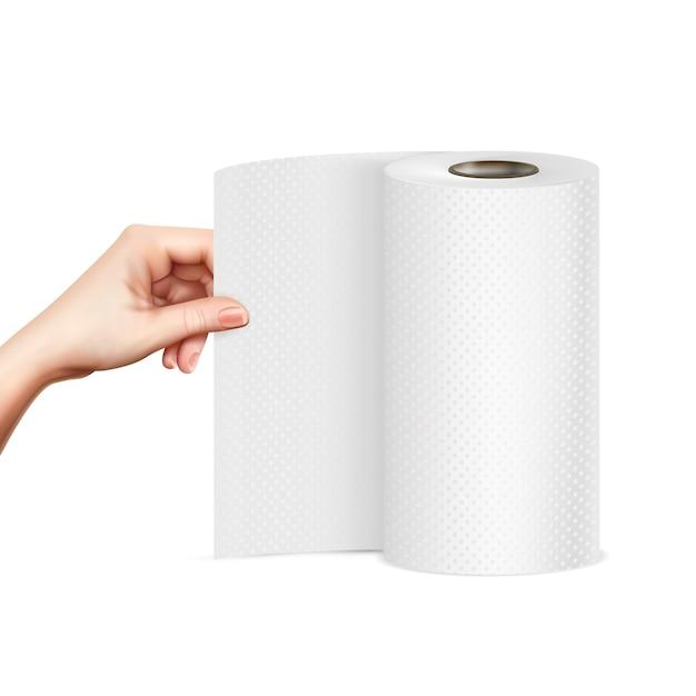 Papieren handdoek hand realistisch beeld Gratis Vector