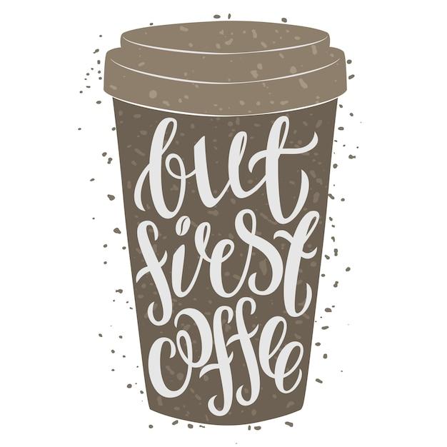 Papieren koffiekopje met de hand getrokken belettering Premium Vector