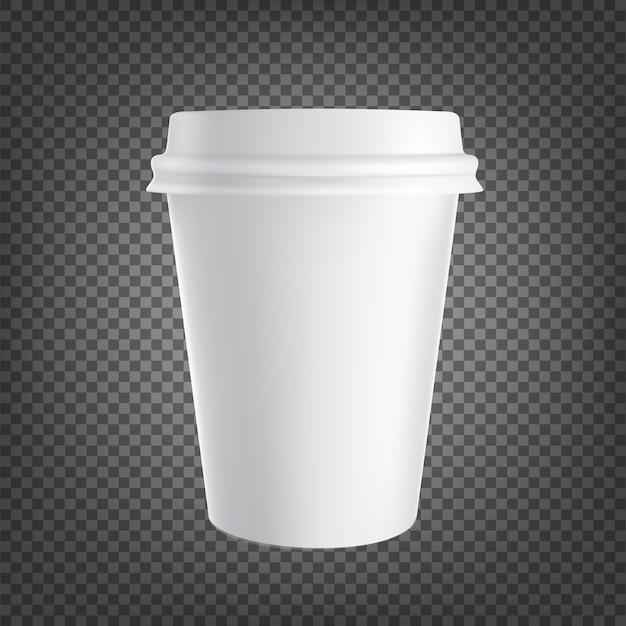 Papieren koffiekopje pictogram geïsoleerd op zwart transparant. koffie drinkbeker. Premium Vector