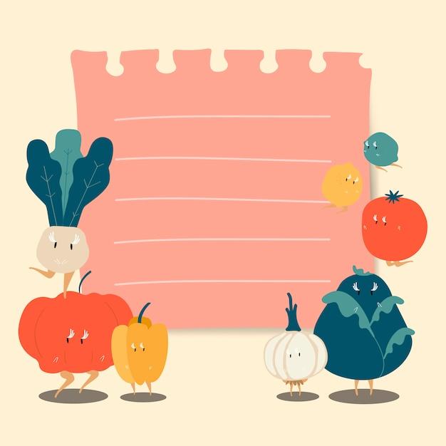Papieren notitie met grappige groenten vector Gratis Vector