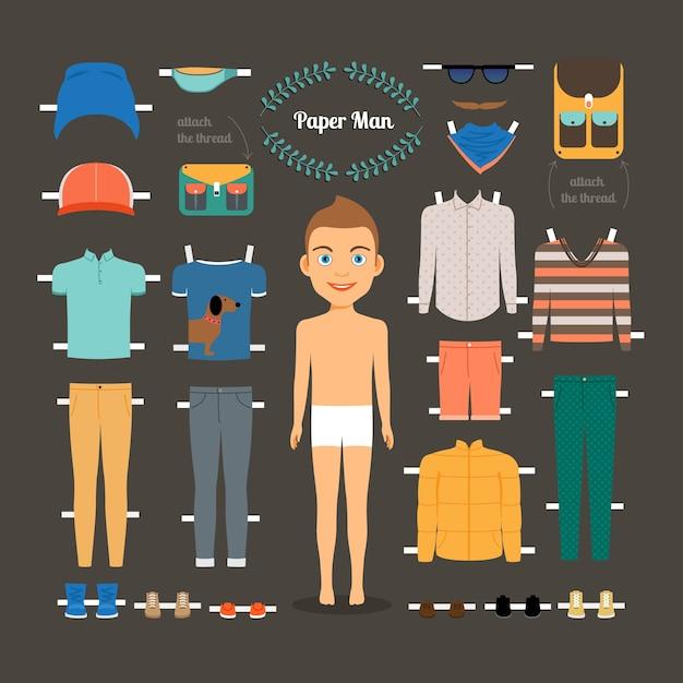 Papieren pop man sjabloon. schoenen en jas, modelpop, papieren kleding en jurk. vector illustratie Gratis Vector