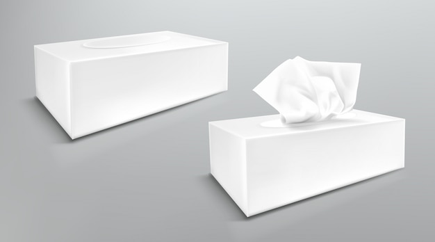 Papieren servetdoos mockup, sluit en open lege pakketten met zijaanzichten van tissuedoekjes. de hygiënetoebehoren, witte die kartonpakketten op grijze achtergrond worden geïsoleerd, realistische 3d illustratie, bespotten omhoog Gratis Vector
