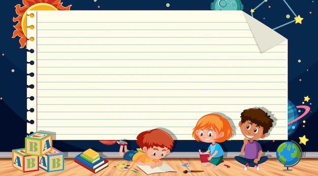 Papieren sjabloon met kinderen lezen van boeken en ruimte Premium Vector