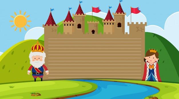 Papieren sjabloon met koning en koningin in het kasteel Premium Vector