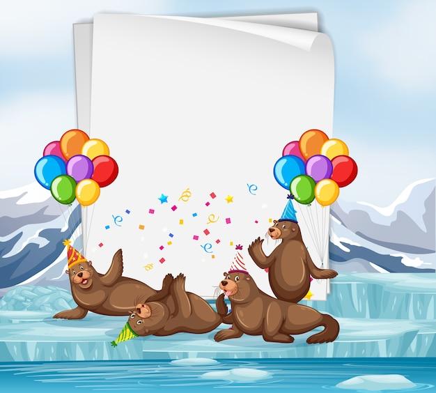 Papieren sjabloon met schattige dieren in feestthema Premium Vector