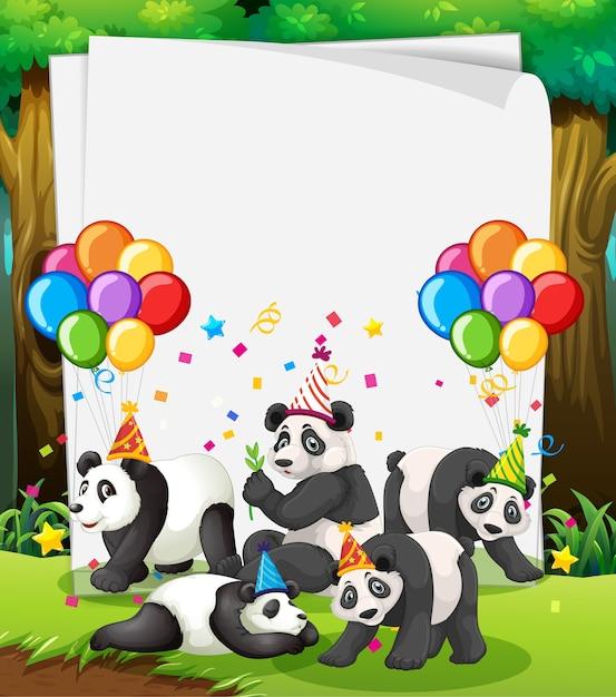 Papieren sjabloon met schattige dieren in feestthema Gratis Vector