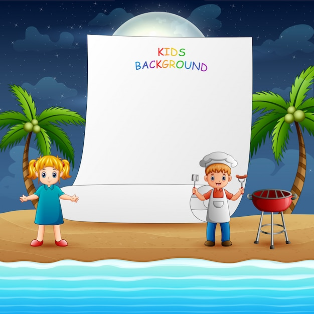 Papieren sjabloonontwerp met gelukkige kinderen koken Premium Vector