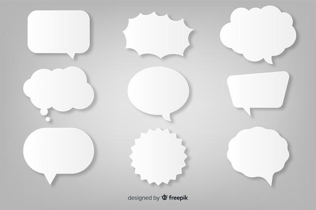 Papieren stijl platte toespraak bubble collectie Gratis Vector