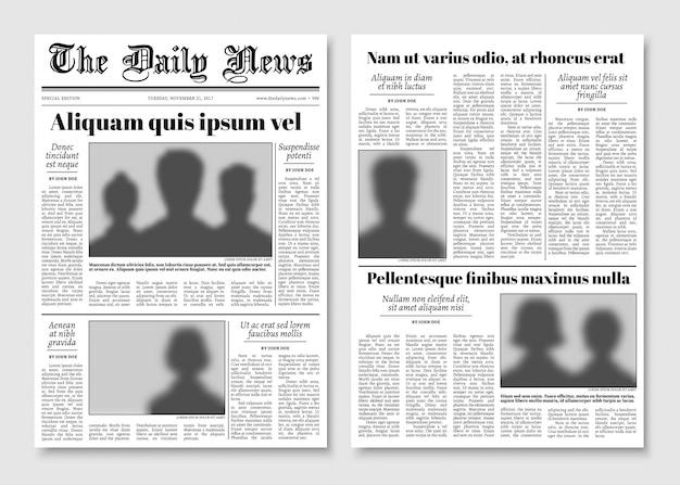Papieren tabloid krant vector lay-out. redactionele nieuws sjabloon Premium Vector