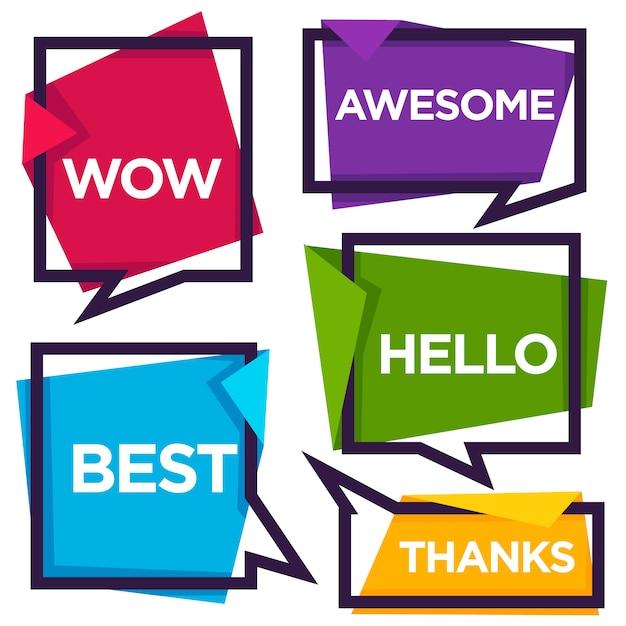 Papieren tekstballonnen met emotionele woorden bedankt, hallo, wauw, beste, geweldig Premium Vector