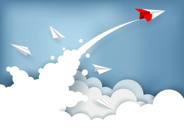 Papieren vliegtuig geladen naar de hemel tijdens het vliegen boven een wolk. succes van zakelijke financiën. illustratie vector Premium Vector