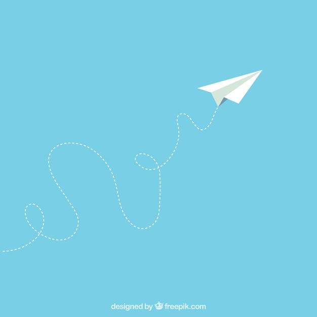 Papieren vliegtuig in cartoon-stijl Gratis Vector