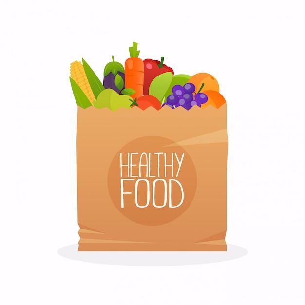 Papieren zak met gezond voedsel. gezonde biologische verse en natuurlijke voeding. kruidenier levering concept. platte ontwerp vectorillustratie. Premium Vector