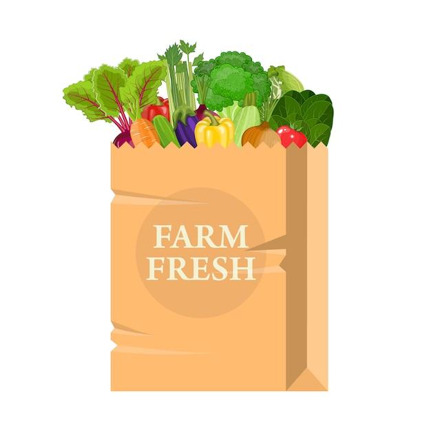 Papieren zak met gezond voedsel. Premium Vector