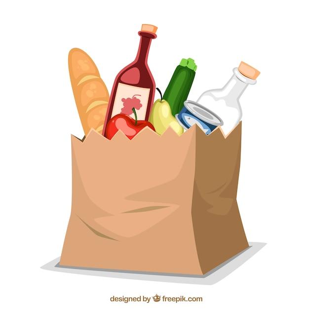 Papieren zak met voedsel Gratis Vector