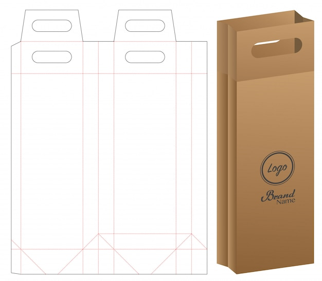 Papieren zak verpakking gestanst en 3d tas mockup Premium Vector