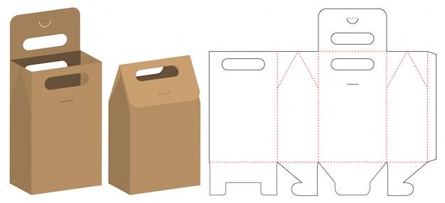 Papieren zak verpakking gestanst sjabloonontwerp Premium Vector