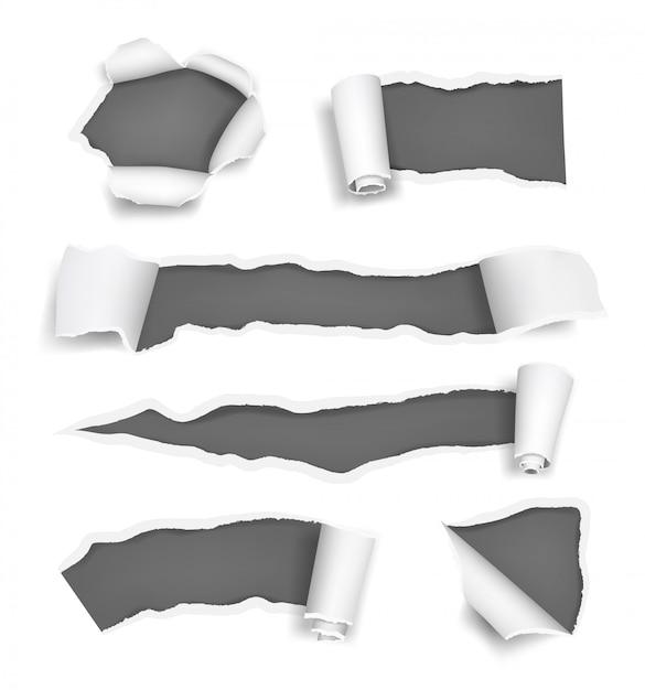 Papiergaten zijn gescheurd. gepromoveerde scheurt gescheurde pagina's afgesneden rand van papier en notities realistische sjabloon Premium Vector
