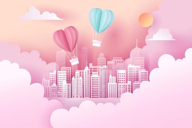 Papierkunst en landschap, digitale ambachtelijke stijl van valentijnsdag Premium Vector