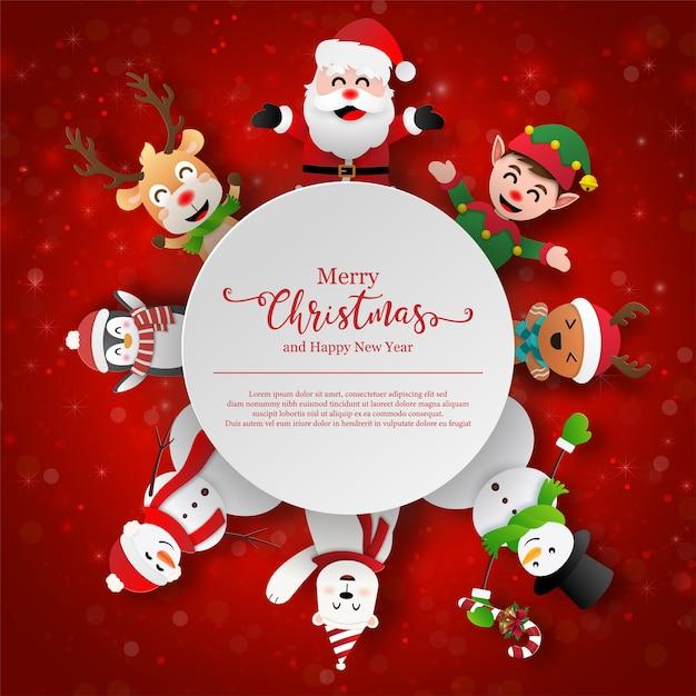 Papierkunst kerstthema kerstman en vrienden met kopie ruimte Premium Vector