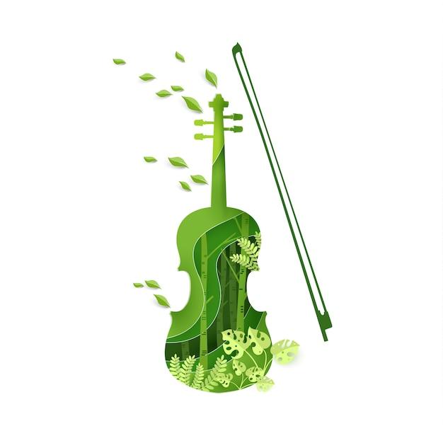 Papierkunst met vioolinstrumentontwerp in het voorjaar. Premium Vector