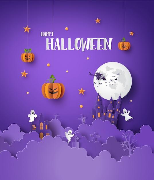 Papierkunst van gelukkig halloween Premium Vector