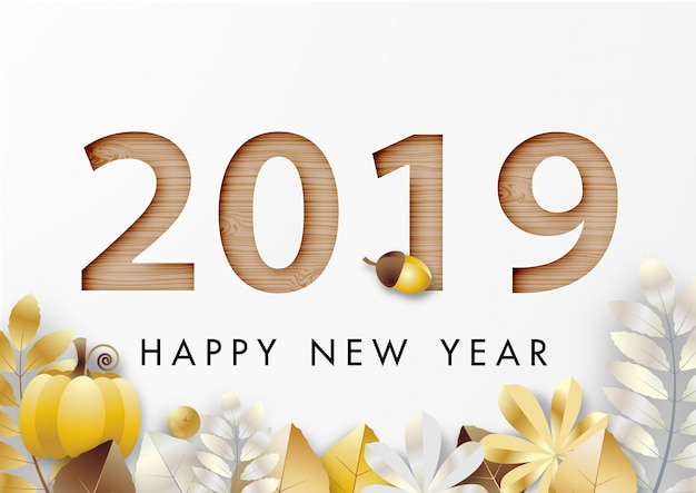 Papierkunst van happy new year 2019 festival Premium Vector