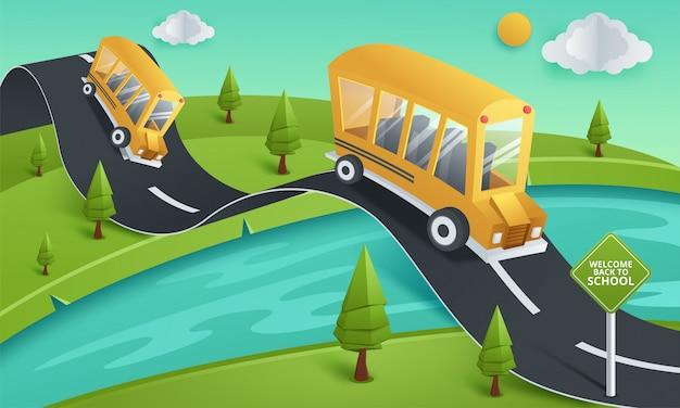 Papierkunst van schoolbus die bij de landweg, terug naar schoolconcept lopen Premium Vector