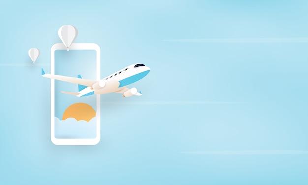 Papierkunst van vliegtuig die van mobiele telefoon, vakantieconcept vliegen Premium Vector