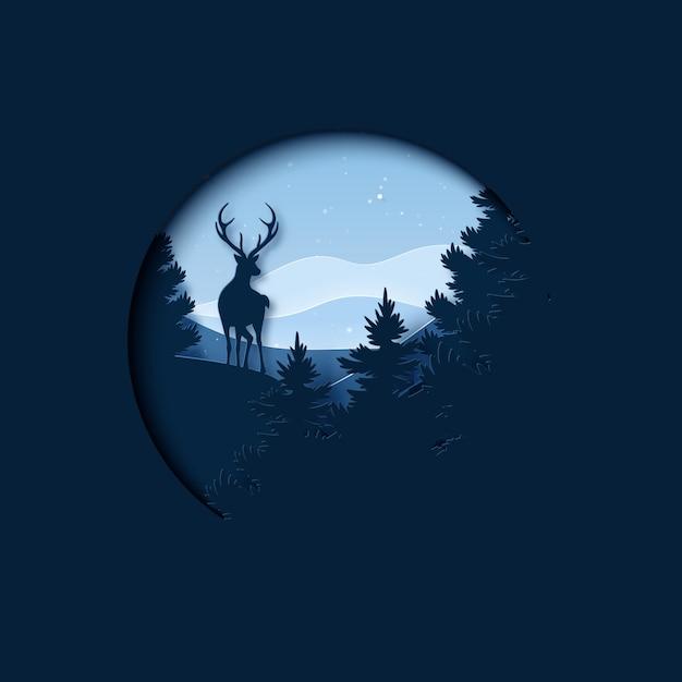 Papierkunst van wintertijdlandschap en kerstmis Premium Vector