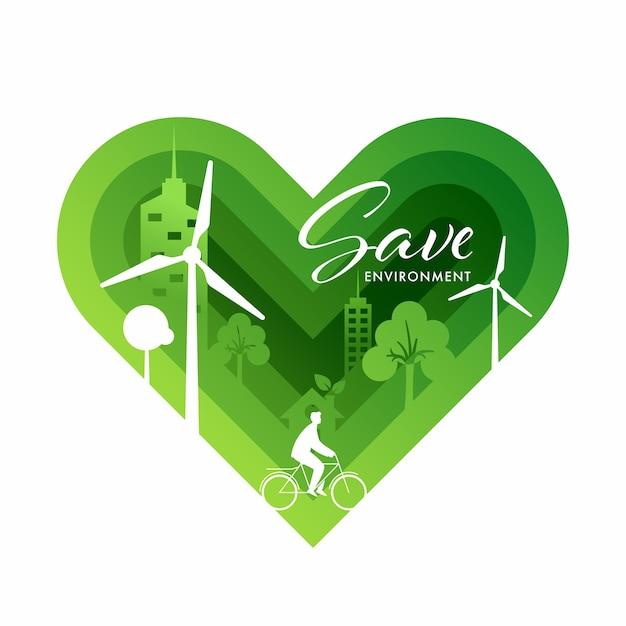 Papierlaag gesneden groen hart achtergrond met uitzicht op eco city voor save environment concept. Premium Vector