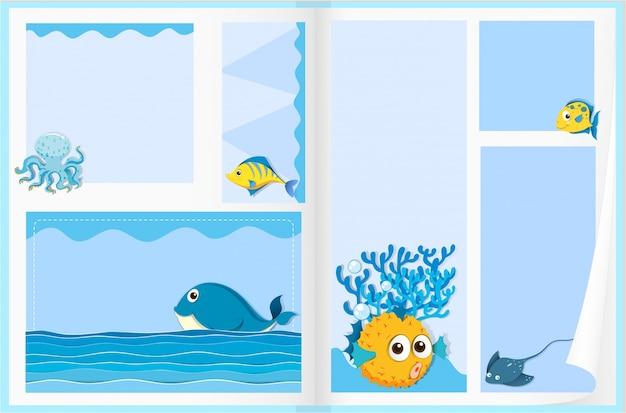 Papierontwerp met zeedieren Gratis Vector