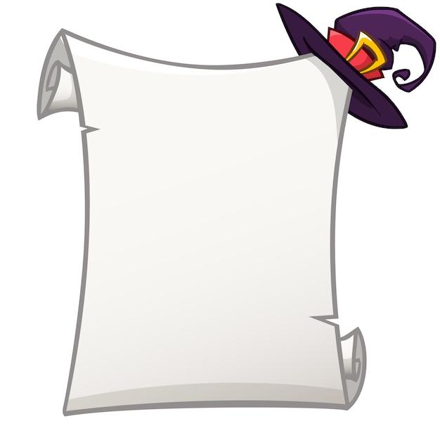 Papierrol voor halloween-uitnodiging of poster Premium Vector