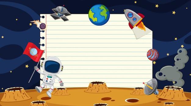 Papiersjabloon met ruimteachtergrond Premium Vector