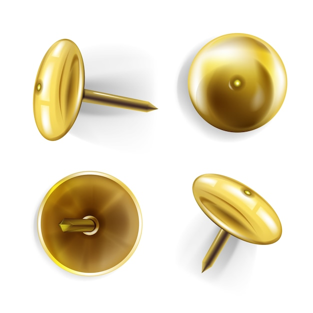 Papierspeldillustratie van 3d realistische gouden of messingsmetaalspelden of punaise voor memorandumnota's Gratis Vector