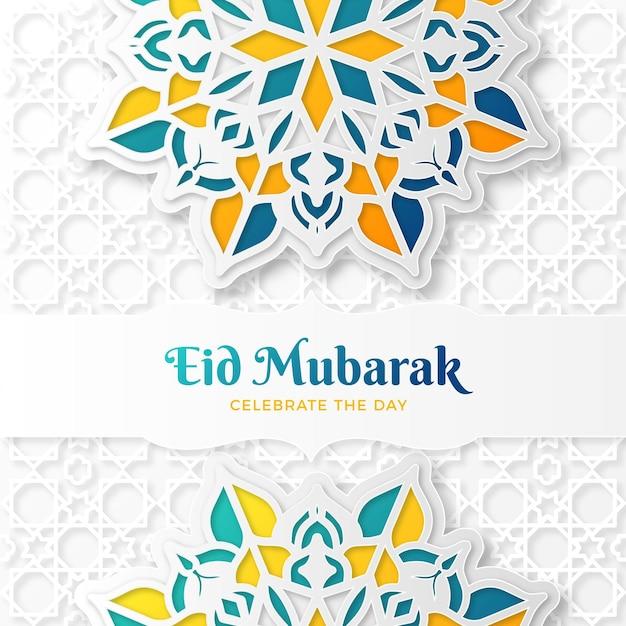 Papierstijl eid mubarak met mandala Gratis Vector