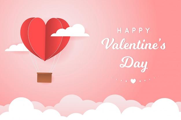 Papierstijl liefde van valentijn dag, ballon vliegt over wolk met hart zweven aan de hemel, paar huwelijksreis Premium Vector