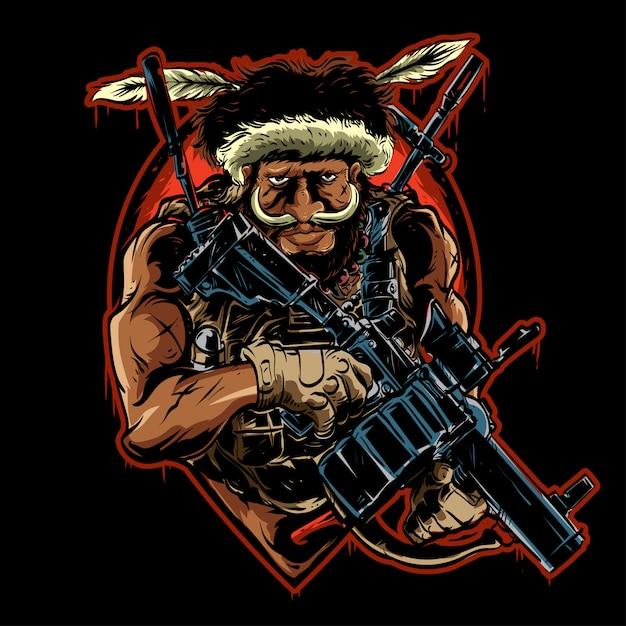 Papuanese met wapen Premium Vector