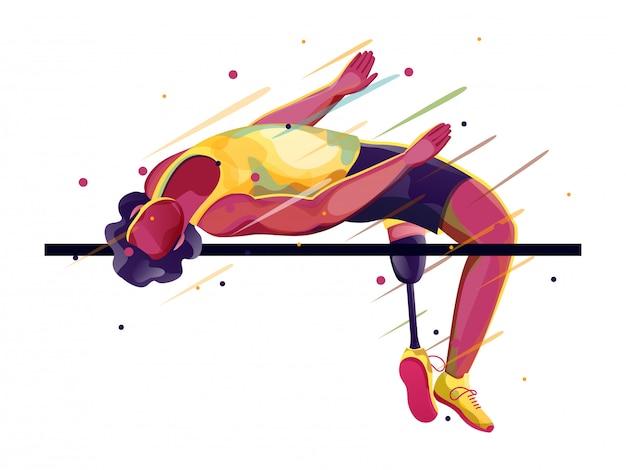 Para-atleet op hoogspringen. Premium Vector