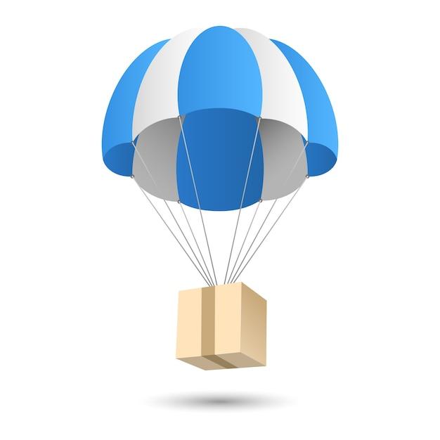 Parachute cadeau levering concept embleem Gratis Vector