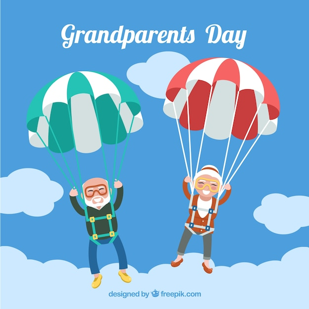 Parachute grootouders achtergrond Premium Vector