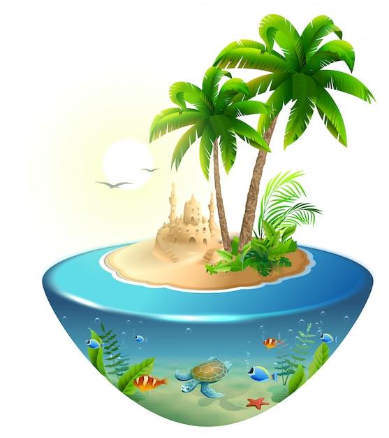 Paradijs tropisch eiland in zee. palm, zandkasteel en zeeschildpad. zomer strandvakantie vakantie Premium Vector