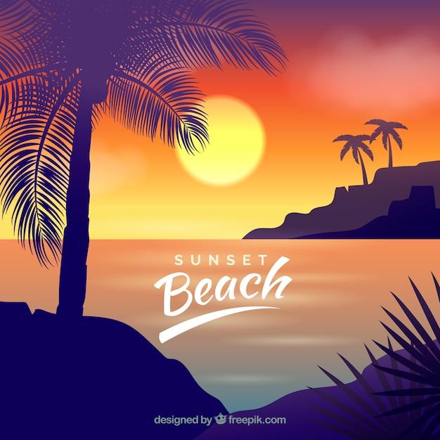 Paradijs tropisch strand met mooie zonsondergang Gratis Vector
