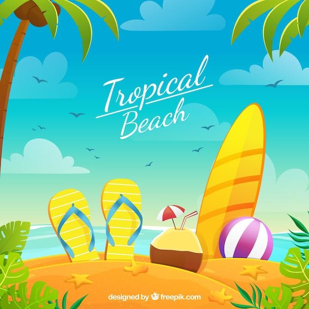 Paradijs tropisch strand met vlak ontwerp Gratis Vector