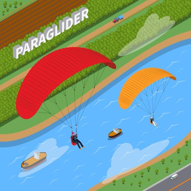 Paraglider isometrische illustratie Gratis Vector