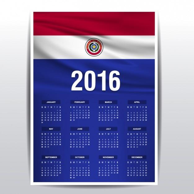 Paraguay kalender van 2016 Gratis Vector