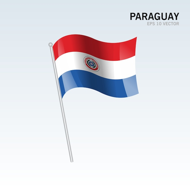 Paraguay wuivende vlag geïsoleerd op een grijze achtergrond Premium Vector
