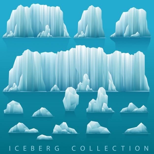 Parallax achtergrond van ijsbergen en de zee Gratis Vector