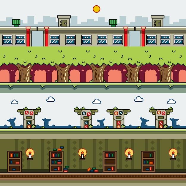 Parallax-achtergronden voor videogames Premium Vector