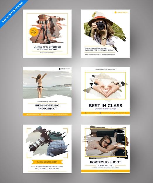 Parallax photography social media post voor digitale marketing Premium Vector